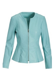 light blue peplum leather jacket.