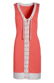coral and white tie-up design sleeveless sport dress.