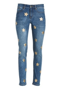 skinny jeans with gold stars.