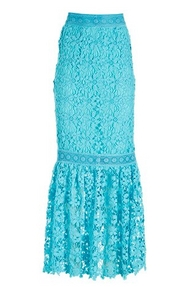 blue floral lace maxi skirt.