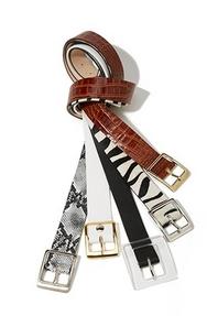 a snake print belt, a white belt, a black belt, a zebra belt, and a brown leather belt.