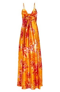 an orange and pink floral print maxi dress.