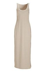 white and tan striped sport sleeveless maxi dress.