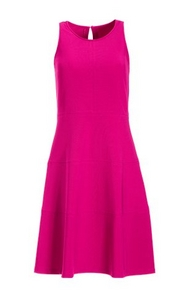 a pink sleeveless fit-and-flare dress.