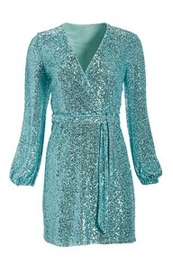 a blue sequin long-sleeve tie-waist dress.