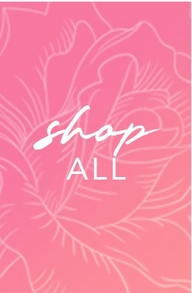 white letters on a pink floral background: shop all.