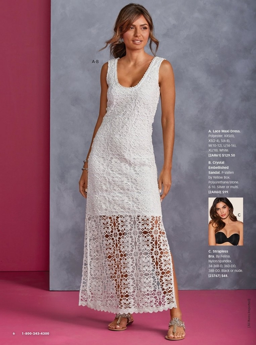 model wearing a white lace maxi dress. right image shows a black strapless bra.