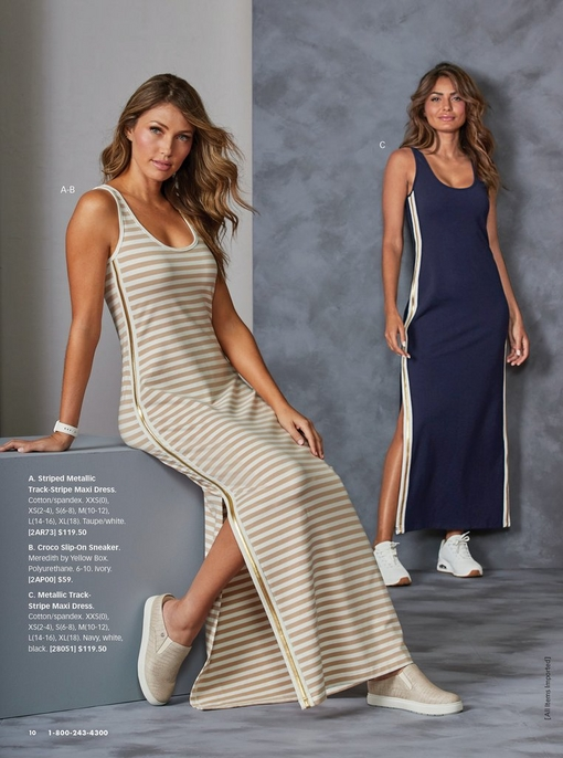 left model wearing a white and tan striped sport maxi dress with a gold track stripe on the side and slip on sneakers. right model wearing a blue sport maxi dress with a gold track stripe along the side and white sneakers.
