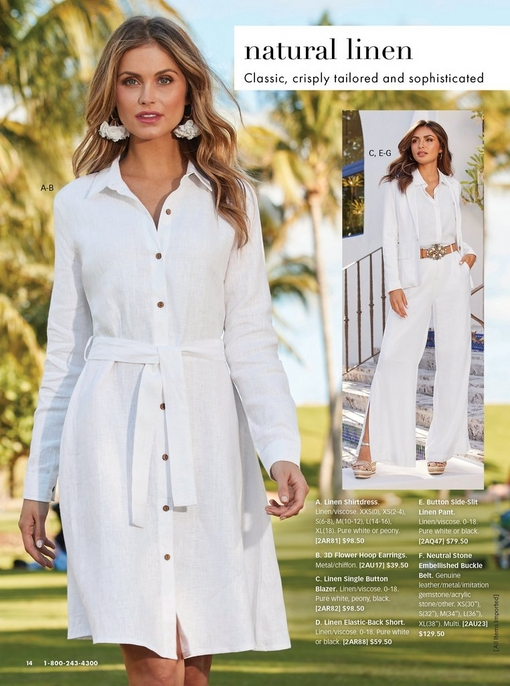 left model wearing a white linen shirtdress and white floral earrings. right model wearing a white linen blazer, white button-up shirt, stone embellished belt, linen side-slit pants, and gold wedges.
