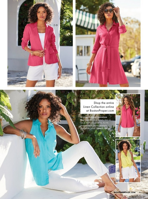 top left model wearing a pink linen blazer, white tank top, and white linen shorts. top right model wearing a pink linen shirtdress and sunglasses. bottom model wearing a sleeveless linen collared top in blue, pink, and yellow.