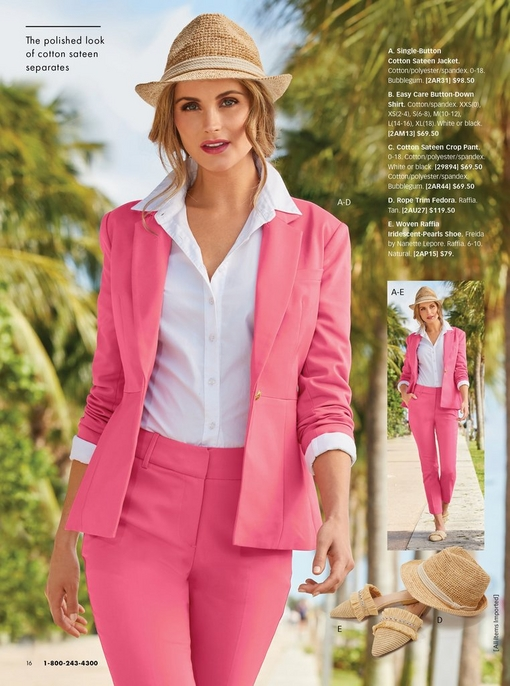 model wearing a pink cotton sateen jacket, a white button-down shirt, pink cotton sateen crop pants, a rope trim fedora, and woven raffia iridescent-pearl shoe.