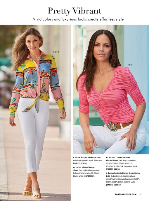 left model wearing white cotton sateen crop pants, floral striped tie-front shirt, and yellow wedges. right model wearing a pink ruched covered button top, turquoise jeweled belt, and white jeans.