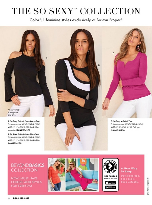 left model wearing a black cold-shoulder flare-sleeve top and white jeans. middle model wearing a black and white three-quarter sleeve cutout top and white pants. right model wearing a pink long-sleeve top with a small v-neck.