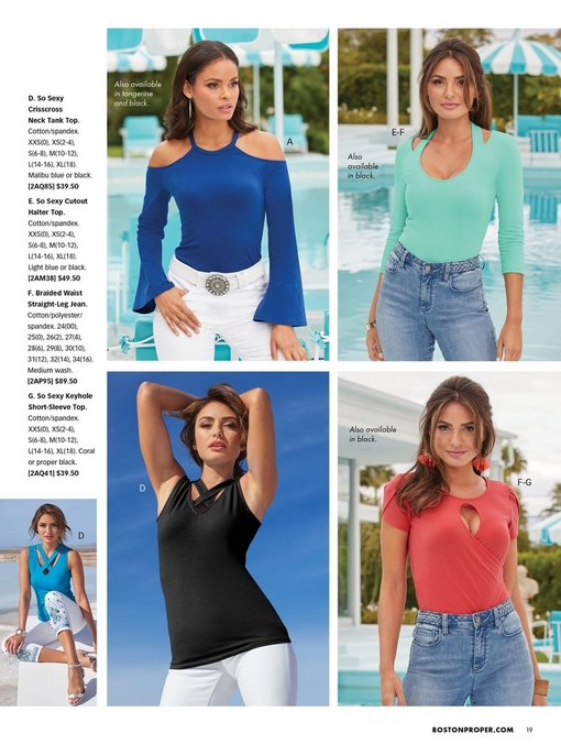 top left model wearing a blue cold-shoulder flare-sleeve top, white stone belt, and white pants. top right model wearing a teal cutout three-quarter sleeve top and braided waist jeans. bottom left model wearing a black cutout sleeveless top and white pants. bottom right model wearing a coral keyhole short sleeve top and braided waist jeans. small image to the right shows a blue sleeveless cutout top and white jeans.