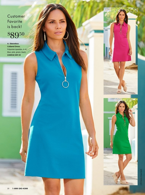 model wearing a collared sleeveless dress with silver zippered neckline in blue, pink, and green.