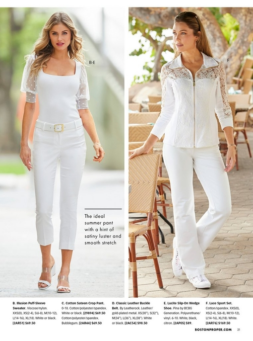 left model wearing a white illusion puff-sleeve sweater, white belt, and white cotton sateen crop pants with white wedges. right model wearing a white lace sport set and white sneakers.