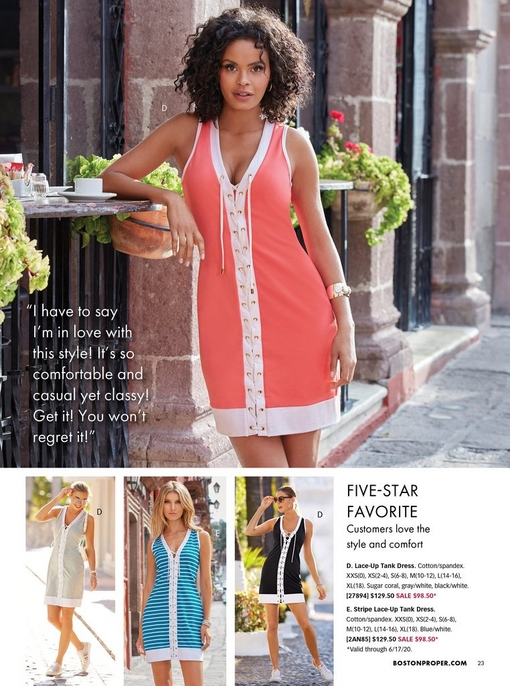 top model wearing a coral and white lace-up tank dress. bottom left model wearing a gray lace-up tank dress. middlel model wearing a blue and white striped lace-up tank dress. right model wearing a black and white lace-up tank dress.