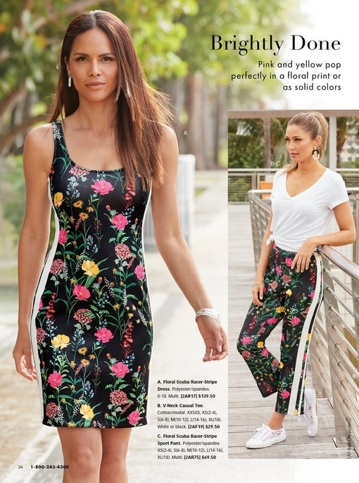 left model wearing a floral printed scuba dress with white racer stripes on the side. right model wearing a whtie v-neck tee shirt and floral scuba sport pants with white racer stripes on the sides and white sneakers.