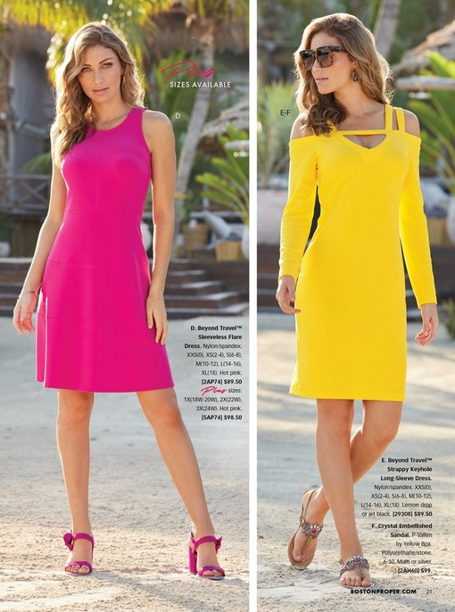 left model wearing a hot pink sleeveless flare dress. right model wearing a yellow long-sleeve cold-shoulder dress, sunglasses, and jeweled sandals
