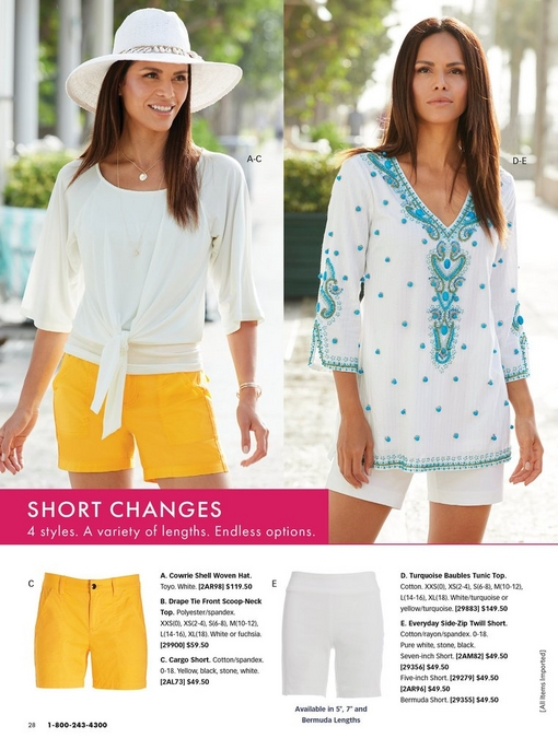 left model wearing a white tie-front top, yellow cargo shorts, and a white woven hat with shell embellishments. right model wearing a white tunic with turquoise baubles and white zide zip twill shorts. bottom panel shows the yellow cargo shorts and white twill shorts.