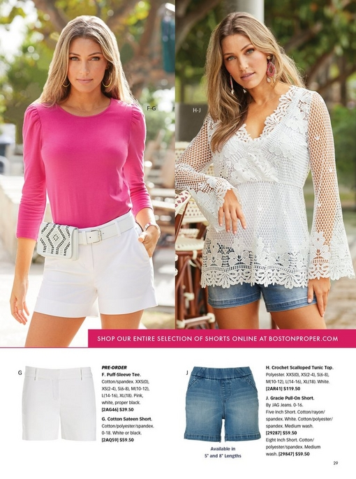 left model wearing a pink three-quarter sleeve top, a white belt bag, and white cotton sateen shorts. right model wearing a white crochet scalloped tunic top and pull-on short. bottom panel shows the white cotton sateen short and pull-on denim shorts.