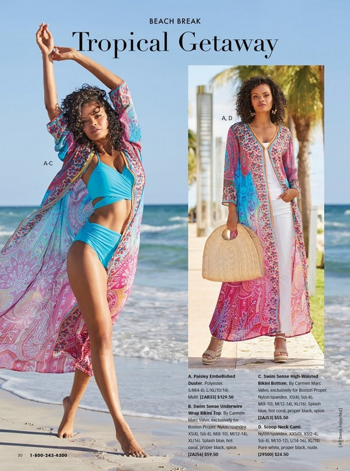 left model wearing a light blue bikini with a paisley embellished duster. right model wearing a paisley embellished duster, white tank top, white pants, gold earrings, and gold wedges with a straw handbag.