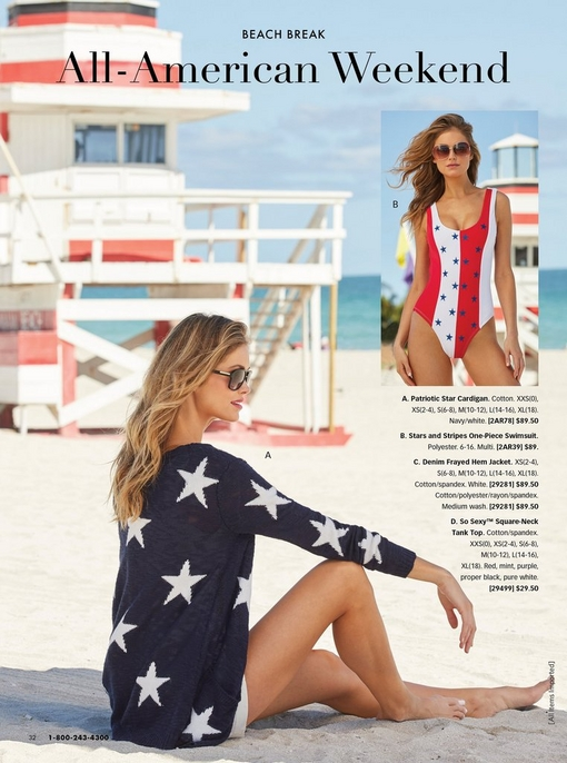 left model wearing a navy cardigan with white stars, white shorts, and sunglasses. right model wearing a one-piece swimsuit with red and white stripes and blue stars.
