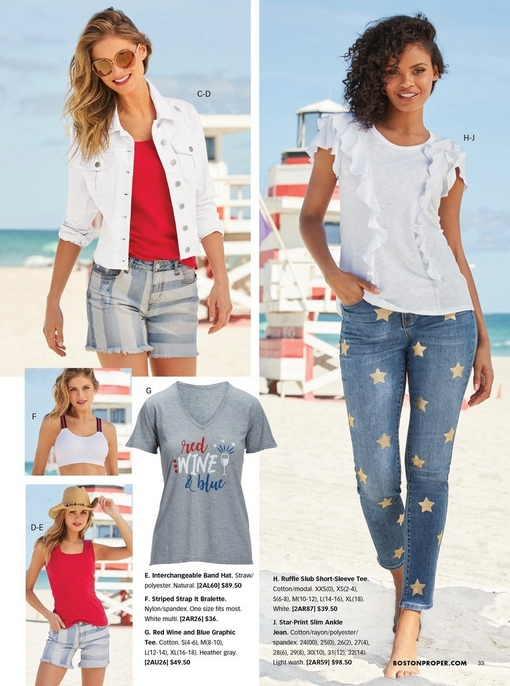 "top left model wearing a red square neck tank top, striped light wash jean shorts, white jean jacket, and sunglasses. middle left model wearing a white bralette with red and blue striped straps. bottom left model wearing a red sleeveless tank top, straw hat, and striped light wash denim shorts. right model wearing a white ruffle tee shirt and star print jeans. middle image shows a graphic tea that says, ""red, wine & blue."""