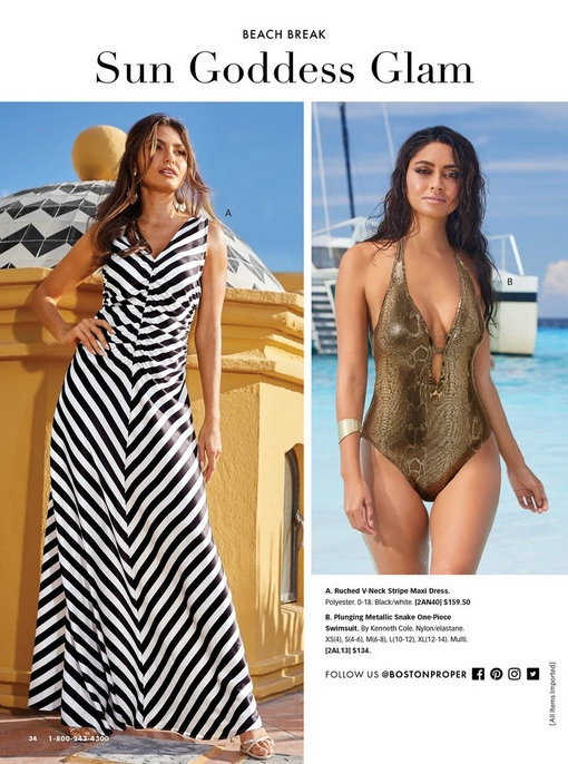 left model wearing a ruched black and white stripe maxi dress. right model wearing a one-piece gold snake print swimsuit.