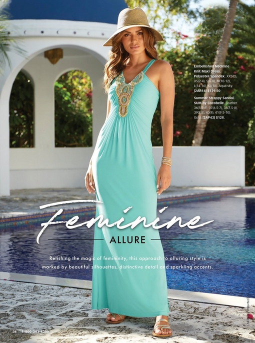 model wearing a turquoise maxi dress with a gold embellished neckline, a straw hat, and gold strappy sandals.