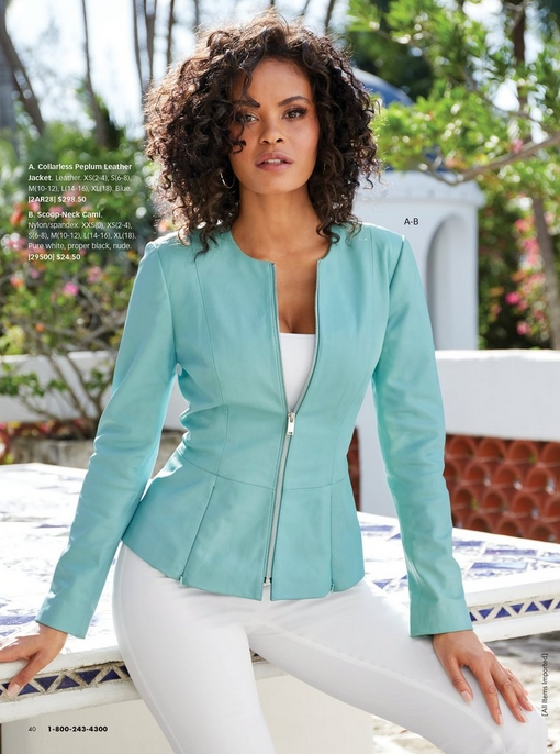 model wearing a blue collarless peplum leather jacket, white camisole, and white pants.