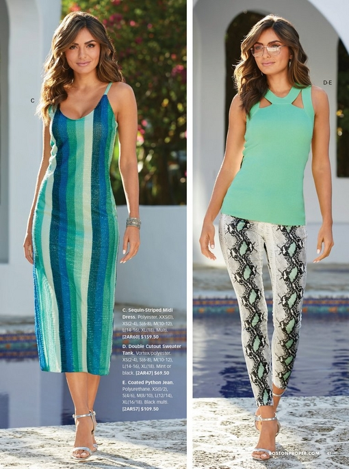 left model wearing a sequin striped midi dress in different shades of blue and green with silver heels. right model wearing a mint cutout sweater tank and snake print jeans with silver heels and sunglasses.