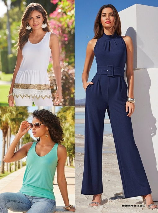 left model wearing a white tank top with a gold and lace trim, white pants, and white flower hoop earrings. bottom left model wearing a teal sleeveless blouson top and jeans with sunglasses and gold hoop earrings. right model wearing a navy belted high-neck jumpsuit.