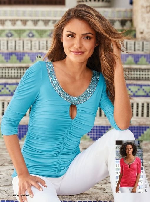 model wearing a turquoise ruched keyhole top with an embellished neckline and white pants. same top in pink shown in bottom right corner.