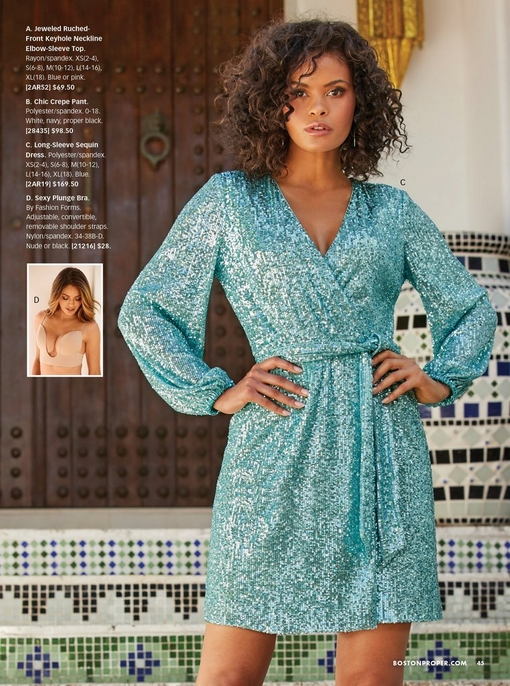 model wearing a blue long-sleeve sequin dress with a tie-waist. small image to the left of a beige plunge bra.