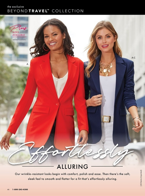 left model wearing a red blazer, jeans, and white v-neck tank top. right model wearing a navy blazer with a white camisole, white belt, white pants, and a gold statement necklace.