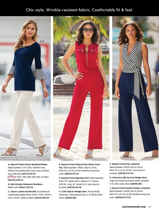 left model wearing a navy top with striped flare sleeves and off-white pants with white wedges. middle model wearing a red jumpsuit, sunglasses, and silver wedges. right model wearing a blue and white striped tie-waist jumpsuit.
