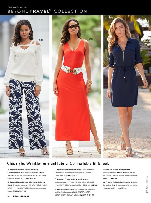 left model wearing a white strappy cold-shoulder top, chain print palazzo pants, and white wedges. middle model wearing a coral maxi dress with a white studded belt, sunglasses, and gold wedges. right model wearing a navy zip-up dress and embellished sandals.