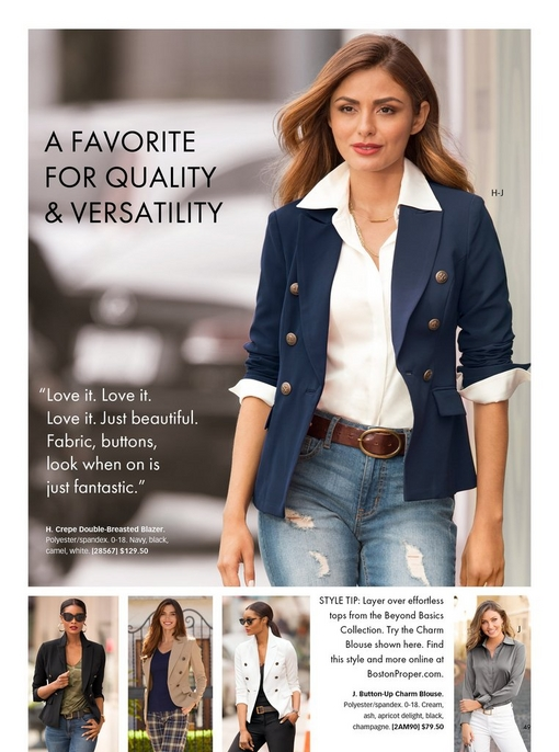 model wearing a navy double-breasted blazer, a white button-up collared shirt, brown belt, and distressed jeans. bottom panel shows the same blazer in black, tan, and white and the charm blouse in ash.