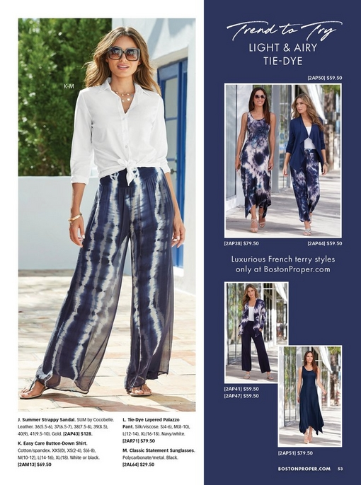 model wearing a white button-down top that is tied at the front, blue and white tie-dye palazzo pant, sunglasses, and strappy sandals. right panel shows the new online-only tie-dye styles.