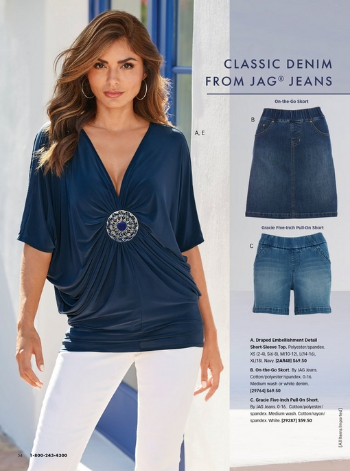 model wearing a navy draped embellished short-sleeve top and white skinny pull-on jeans. right panel shows the jag skort and the jag five-inch pull-on short.