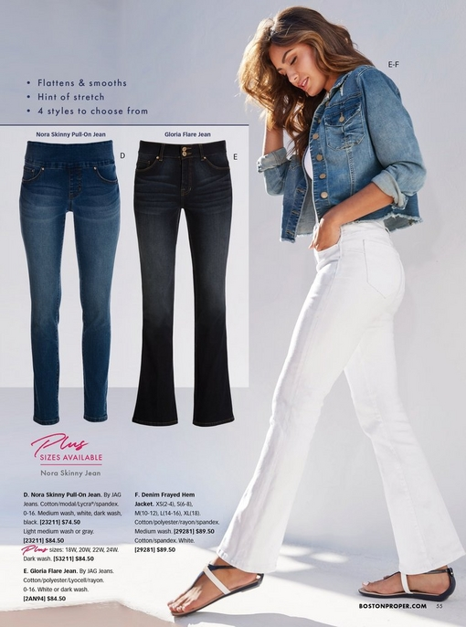 model wearing a frayed hem denim jacket, white tank top, and white flare jeans with blue and white sandals. left panel shoes the nora skinny pull-on jean in medium wash and the gloria flare jean in dark wash.