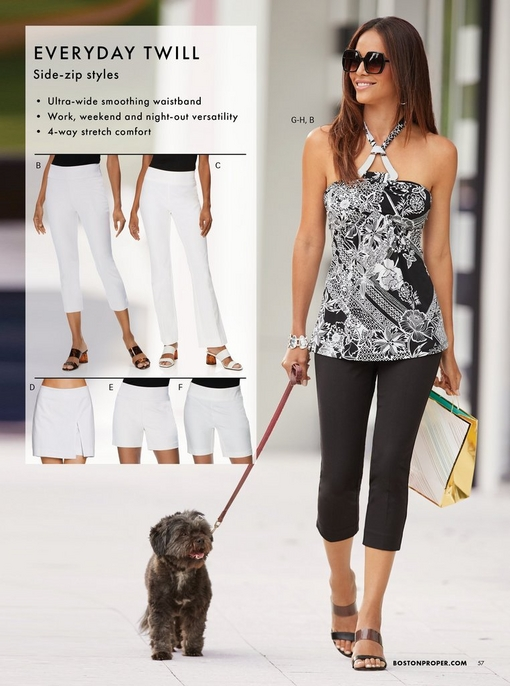 right model wearing a black and white printed halter top, black crop twill pants, sunglasses, and black wedges. left shows all twill styles in white: capri pant, bootcut pant, skort, five-inch short, seven inch short.