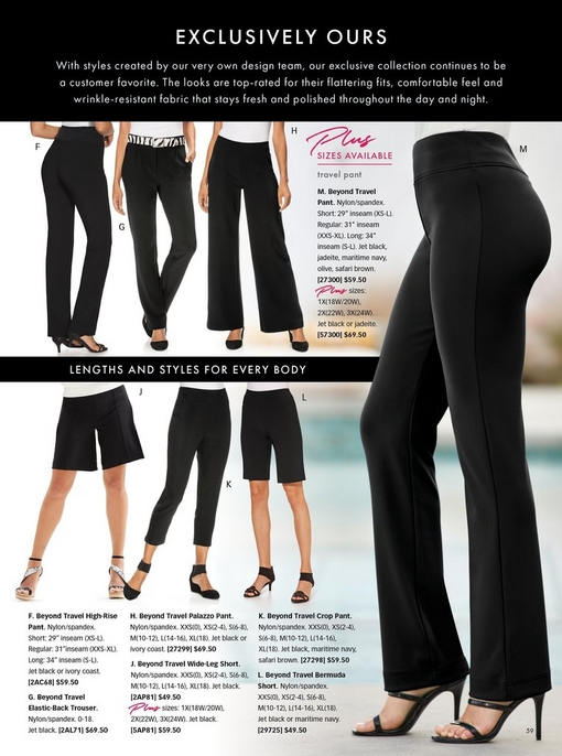 models wearing all beyond travel bottoms in black: high-rise, trouser, palazzo, wide-leg short, crop, bermuda short, and the original travel pant