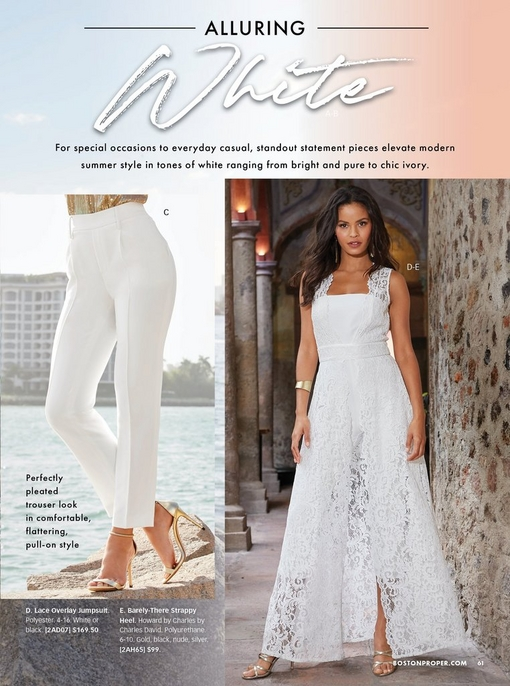 left model wearing white pleated pants and gold heels. right model wearing a white lace overlay jumpsuit with silver strappy heels.