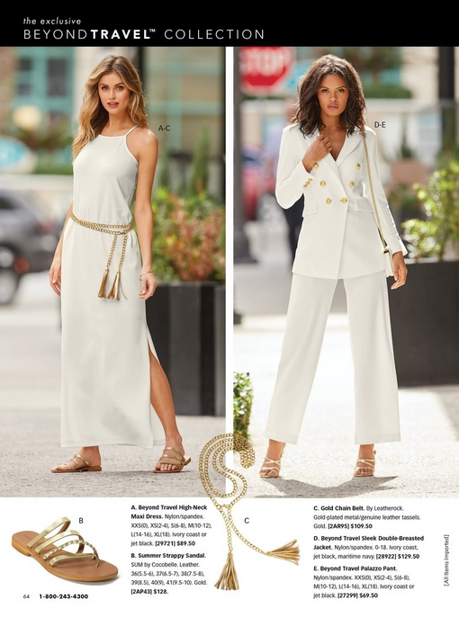 left model wearing an off-white high-neck maxi dress, a gold chain belt, an pair of gold sandals. right model wearing an off white double-breasted jacket, off-white palazzo pants, and gold heels.