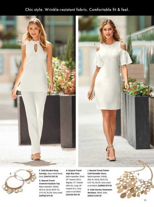 left model wearing an off-white sleeveless keyhole choker top and off-white pants with gold heels. right model wearing an off-white cold-shoulder flare-sleeve dress. bottom panel shows gold beaded hoop earrings and a gold chunky statement necklace.