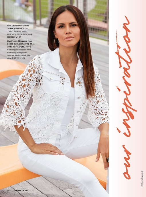 model wearing a white lace embellished denim jacket, white tank top, and white jeans.