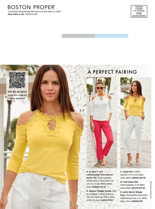 left model wearing a yellow lace cold-shoulder keyhole top with white cargo pants. middle model wearing a white lace cold-shoulder keyhole top with coral cargo pants and gold sandals. right model wearing a yellow lace cold-shoulder keyhole top with white cargo pants.