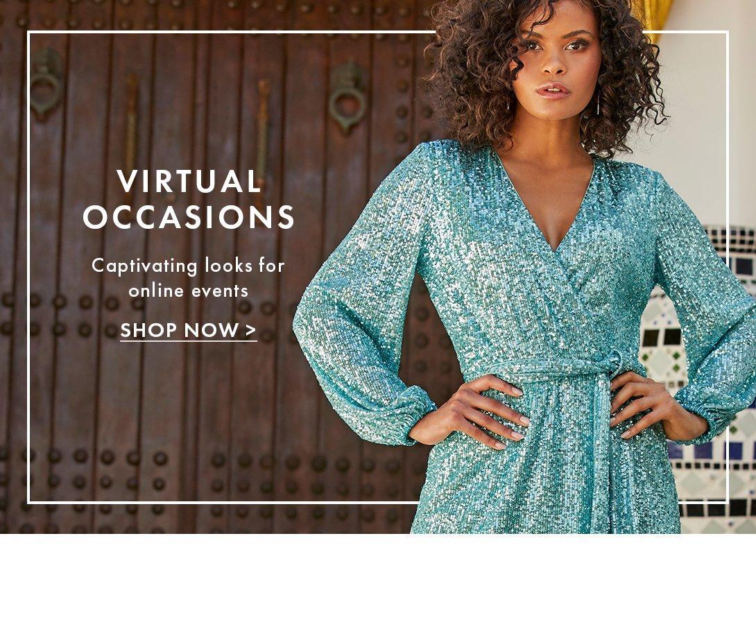 model wearing a long-sleeve sequin blue dress with a tie-waist.